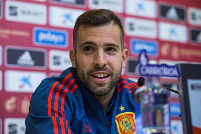 Jordi Alba, en rueda de prensa durante la concentración de la Selección Española en la Ciudad del Fútbol de Las Rozas.