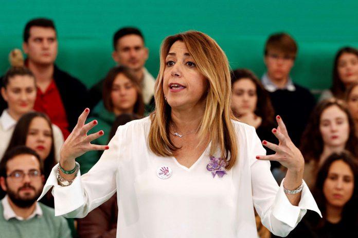 La presidenta del Gobierno de Andalucía y candidata a la reelección, Susana Díaz, durante el acto en Almería. / efe