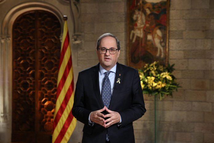El presidente catalán, Quim Torra, pronuncia el tradicional mensaje institucional de Fin de Año.