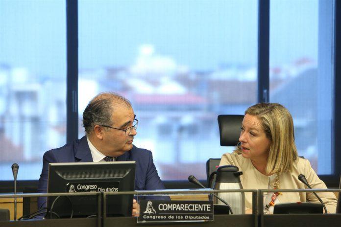 El expresidente del Banco Popular, Ángel Ron, junto a la diputada de Coalición Canaria, Ana Oramas.