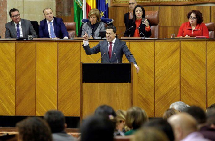 El nuevo presidente andaluz, Juanma Moreno, en una de sus intervención durante la segunda jornada de investidura.