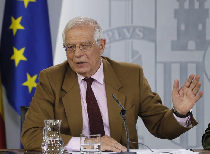 El ministro de Exteriores, Josep Borrell, durante su comparecencia en rueda de prensa tras el Consejo de Ministros.