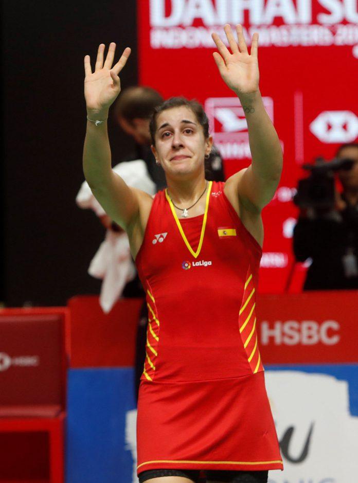 Carolina Marín tuvo que retirarse por lesión del Masters de Indonesia.