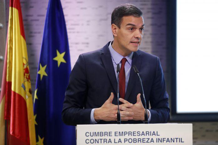 El presidente del gobierno Pedro Sánchez, durante su intervención en la Cumbre Empresarial contra la Pobreza Infantil.