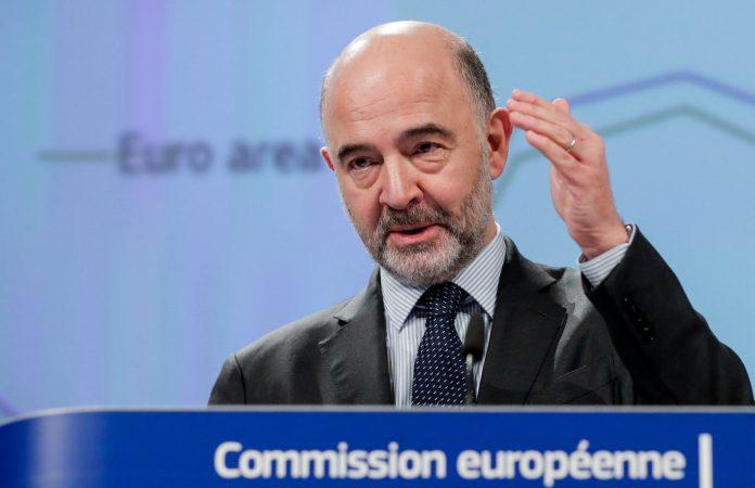 El comisario europeo de Asuntos Económicos y Financieros, Pierre Moscovici, en la presentación de las previsiones.