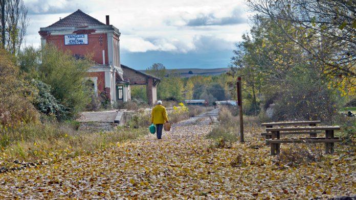 El camino natural, a su paso por la antigua estación de Yanguas de Eresma, en la provincia de Segovia. / kamarero