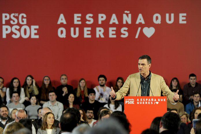 El presidente de gobierno, Pedro Sánchez, durante un acto del PSdeG.
