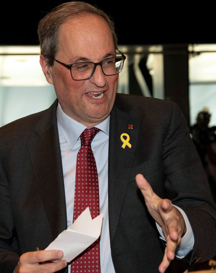 El presidente de la Generalitat, Quim Torra, durante la entrega de los XXI Premios ASPID.