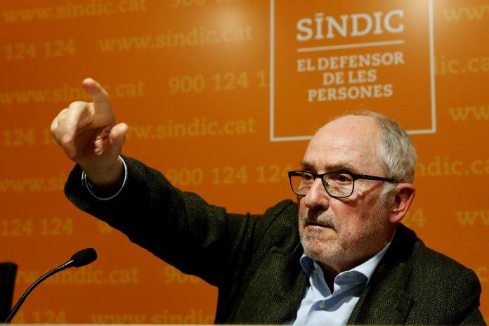 El Defensor del Pueblo catalán, Rafael Ribó, durante su intervención.