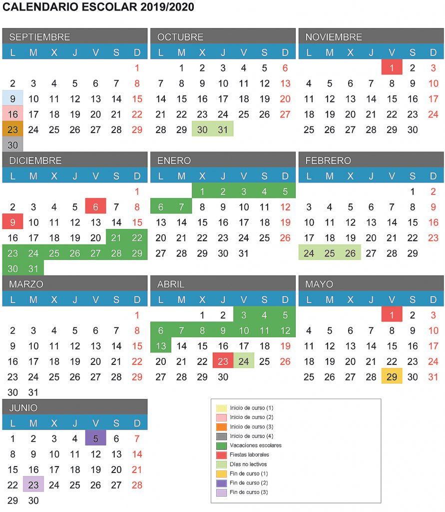 Calendario 2020 Marzo Abril.Los Alumnos Tendran Cuatro Macropuentes El Proximo Curso