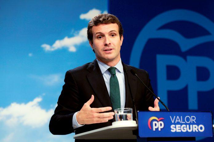 El líder del PP y candidato, Pablo Casado, durante la rueda de prensa que ofreció en Madrid.