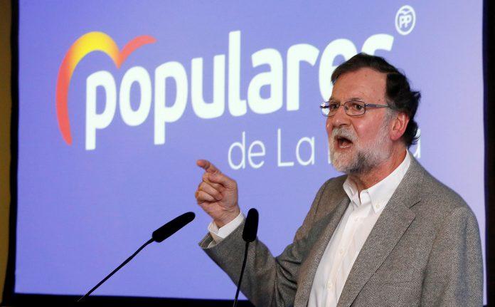 El exjefe del Ejecutivo, Mariano Rajoy, durante una comida-mitin.