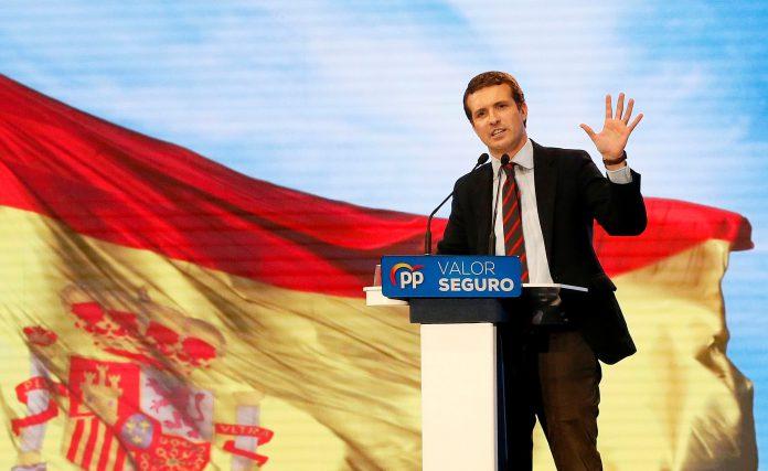 El candidato del PP a la Presidencia del Gobierno, Pablo Casado, durante el acto en Alicante.