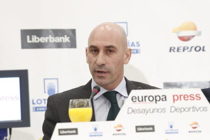 El presidente de la Real Federación Española de Fútbol, Luis Rubiales, durante una rueda de prensa.
