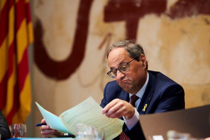 El presidente de la Generalitat, Quim Torra, durante la reunión semanal de su gabinete.