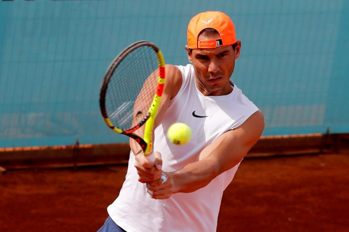 El tenista español Rafa Nadal, durante su entrenamiento preparatorio para el Masters 1.000 de Madrid.