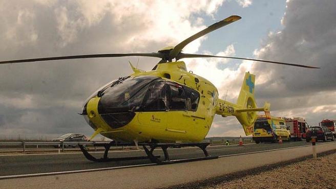 Trasladado en helicóptero un motorista herido en Remondo