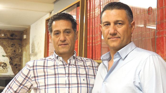 Los responsables de la empresa porcina Rodríguez Sacristán en la sede de El Adelantado. Nerea Llorente.