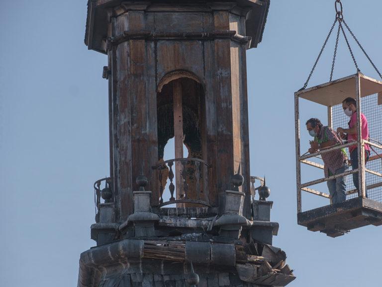 Obras en el chapitel de la torre de la iglesia de San Martin