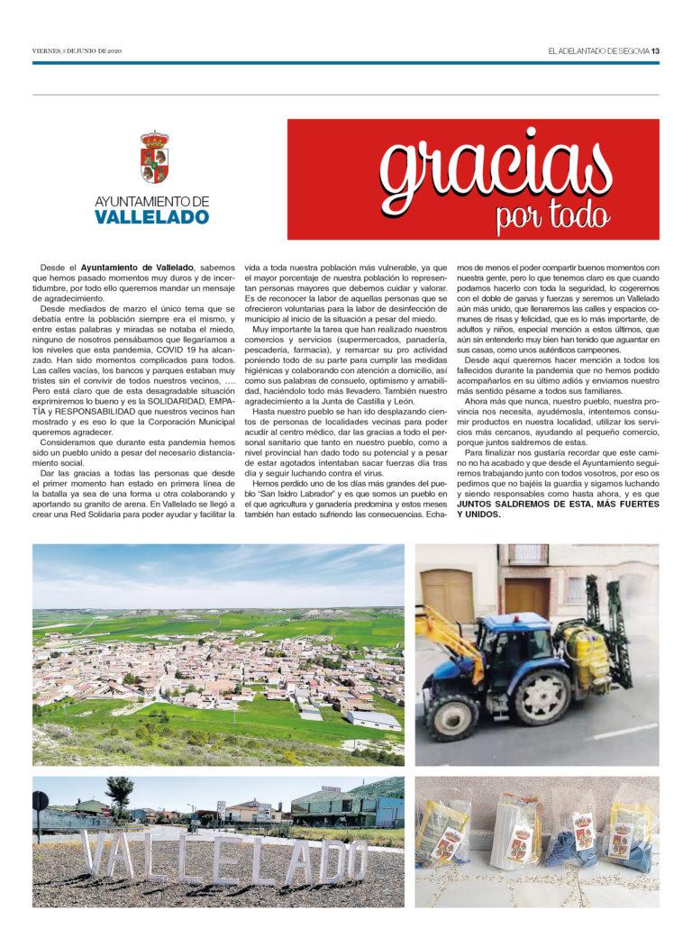Gracias por todo Ayuntamiento de Vallelado