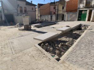Las obras en la Plaza de la Cruz de Cuéllar, a punto de concluir