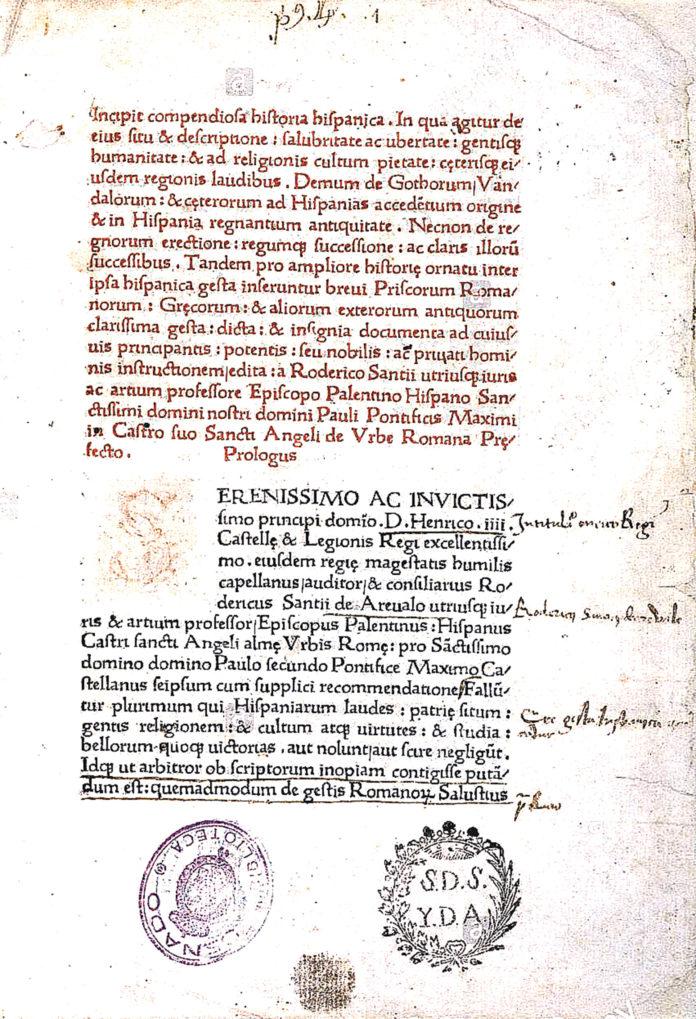 Página de la Compendiosa Historia Hispánica.