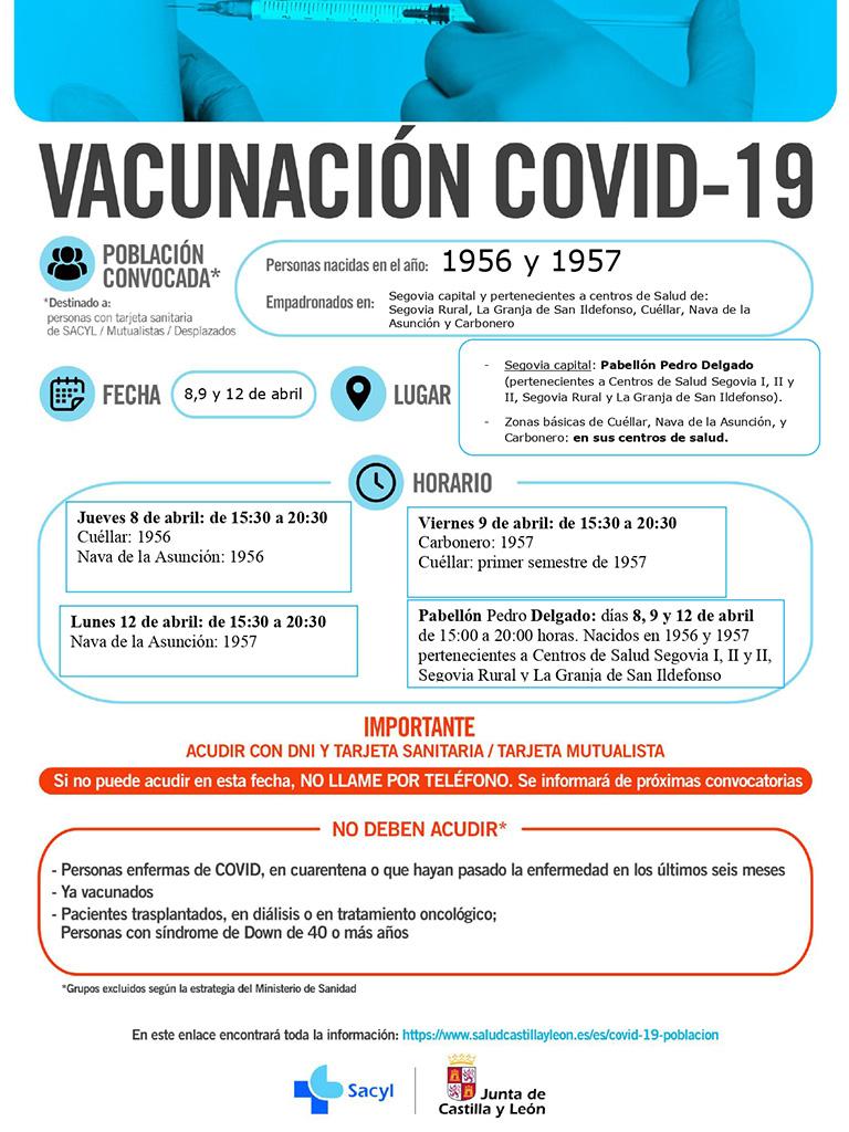 Cartel informativo vacunacion 1956 y 1957 8 9 y 12 abril
