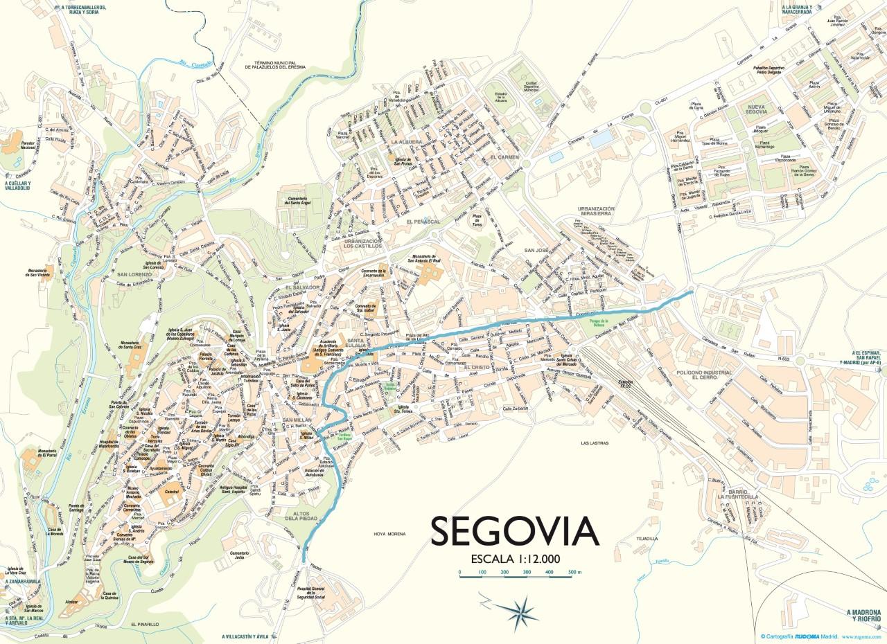 Mapa de Segovia CarrilCity carril bici
