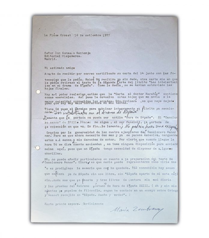 Carta inédita de María Zambrano dirigida a Gonzalo Santonja.
